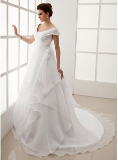 A-Line/Princess Off-the-Shoulder Chapel Train Organza Wedding Dress With Ruffle (002012708)