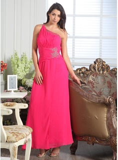 Formal Dresses Online A-Line/Princess One-Shoulder Floor-Length Chiffon Evening Dress With Ruffle Beading (017005171)