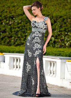 Empire-Linie One-Shoulder-Träger Sweep/Pinsel zug Pailletten Kleid für die Brautmutter mit Perlen verziert Applikationen Spitze Schlitz Vorn (008024343)