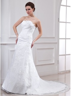 A-Line/Princess Sweetheart Chapel Train Satin Lace Wedding Dress With Beadwork Flower(s) (002000143)