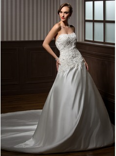 Ball-Gown Sweetheart Cathedral Train Satin Wedding Dress With Lace Beadwork (002000254)