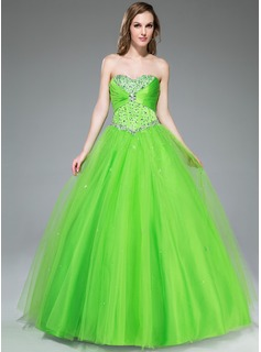 Ball-Gown Sweetheart Floor-Length Satin Tulle Prom Dress With Ruffle Beading Sequins (018047243)