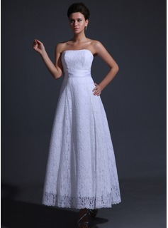 A-Line/Princess Strapless Ankle-Length Charmeuse Lace Wedding Dress With Bow(s) (002025836)