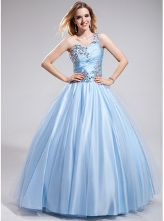 Ball-Gown One-Shoulder Floor-Length Tulle Charmeuse Prom Dress With Ruffle Beading (018043619)
