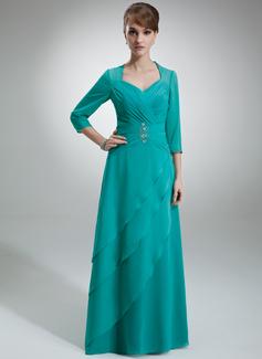 A-Linie/Princess-Linie Herzausschnitt Bodenlang Chiffon Kleid für die Brautmutter mit Rüschen Perlen verziert (008005695)