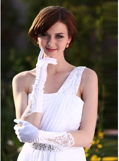 Elastic Satin Elbow Length Bridal Gloves (014005532)