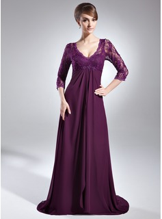 Empire V-neck Sweep Train Chiffon Lace Mother of the Bride Dress With Beading Sequins Cascading Ruffles (008006147)