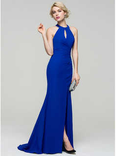 Trumpet/Mermaid Scoop Neck Sweep Train Chiffon Prom Dresses With Ruffle Split Front (018112732)