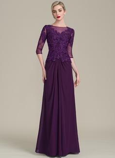 A-Linie/Princess-Linie U-Ausschnitt Bodenlang Chiffon Spitze Kleid für die Brautmutter mit Rüschen Perlstickerei Pailletten (008107652)