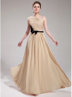 Evening Dresses A-Line/Princess One-Shoulder Floor-Length Chiffon Charmeuse Evening Dress With Ruffle Sash (017019730)