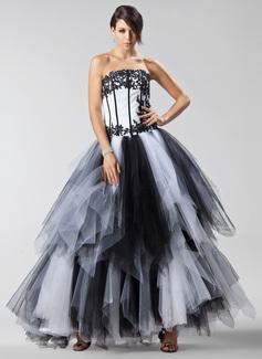 Duchesse-Linie Trägerlos Bodenlang Tüll Quinceañera Kleid (Kleid für die Geburtstagsfeier) mit Applikationen Spitze Gestufte Rüschen (021022475)