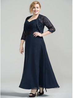 A-Line/Princess Sweetheart Ankle-Length Chiffon Lace Mother of the Bride Dress (008077030)