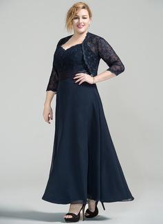A-Linie/Princess-Linie Schatz Knöchellang Chiffon Spitze Kleid für die Brautmutter (008077030)