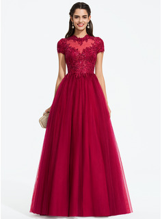 Ball-Gown/Princess Scoop Neck Floor-Length Tulle Prom Dresses With Sequins (018187212)