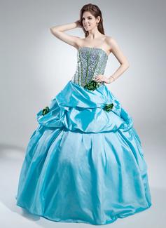 Duchesse-Linie Trägerlos Bodenlang Taft Pailletten Quinceañera Kleid (Kleid für die Geburtstagsfeier) mit Rüschen Blumen (021016040)