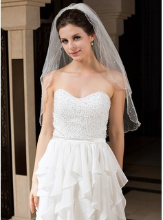 Two-tier Elbow Bridal Veils With Beaded Edge (006034327)