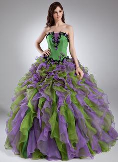 Duchesse-Linie Wellenkante Bodenlang Organza Quinceañera Kleid (Kleid für die Geburtstagsfeier) mit Perlen verziert Applikationen Spitze Blumen Gestufte Rüschen (021015944)