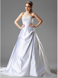 Ball-Gown Strapless Chapel Train Satin Wedding Dress With Ruffle Beading (002000501)