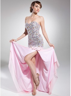Robe de Bal de Promo Ligne-A/Princesse Cur Traine longue Mousseline Robe de Bal de Promo avec Brod (018014715)