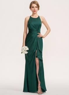 Sheath/Column Scoop Neck Floor-Length Satin Chiffon Bridesmaid Dress With Split Front Cascading Ruffles (007190684)