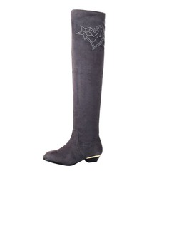 Suede Low Heel Over The Knee Boots With Rhinestone shoes (088040851)