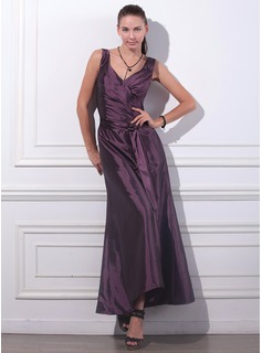 Formal Dresses Online A-Line/Princess V-neck Ankle-Length Taffeta Evening Dress With Ruffle (017012861)