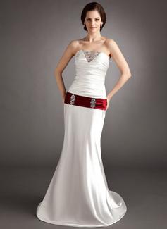 A-Line/Princess Sweetheart Sweep Train Charmeuse Wedding Dress With Ruffle Sash Beading Sequins (002011691)