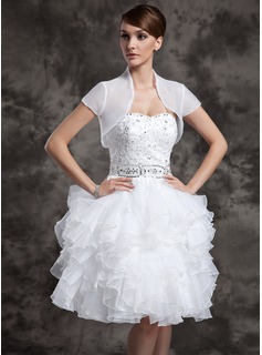 Short Sleeve Organza Wedding Wrap (013004598)