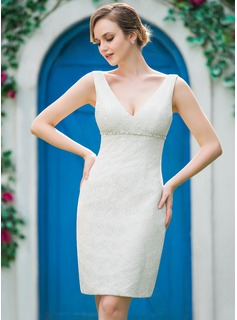 Sheath/Column V-neck Knee-Length Lace Wedding Dress With Beading (002051151)
