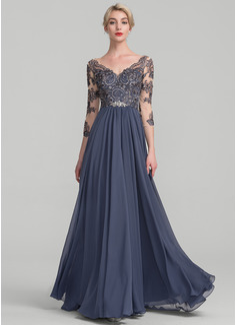A-Linie/Princess-Linie V-Ausschnitt Bodenlang Chiffon Spitze Kleid für die Brautmutter (008114234)