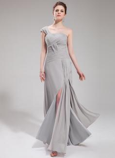 Forme Princesse Encolure asymétrique Longueur ras du sol Mousseline Robe de soirée avec Plissé Fendue devant (017019744)