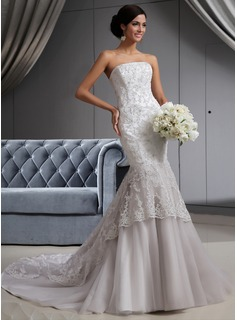 Trumpet/Mermaid Strapless Chapel Train Satin Tulle Wedding Dress With Lace Beading (002022658)
