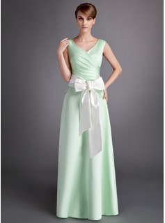 A-Line/Princess V-neck Floor-Length Satin Bridesmaid Dress With Ruffle Sash Bow(s) (007001060)