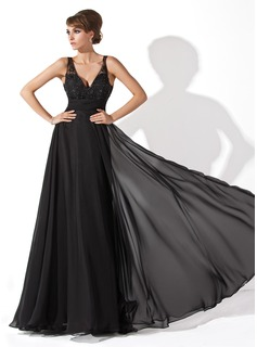 A-Line/Princess V-neck Floor-Length Chiffon Prom Dresses With Ruffle Lace Beading (018005092)