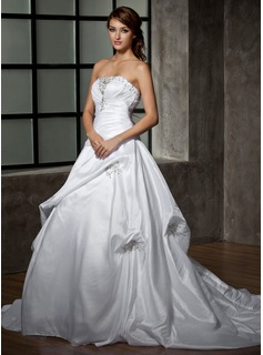 Ball-Gown Strapless Chapel Train Taffeta Wedding Dress With Ruffle Lace Beading (002000472)