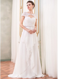 A-Line/Princess Scoop Neck Sweep Train Chiffon Lace Wedding Dress With Beading Sequins Cascading Ruffles (002052704)