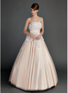 Ball-Gown Strapless Floor-Length Tulle Prom Dress With Ruffle Beading Flower(s) (018112909)