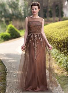 A-Linie/Princess-Linie U-Ausschnitt Bodenlang Tüll Kleid für die Brautmutter mit Perlstickerei Applikationen Spitze Pailletten (008022938)