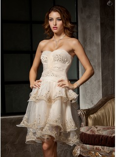 A-Line/Princess Sweetheart Knee-Length Organza Homecoming Dress With Ruffle Beading Appliques Lace (022009260)