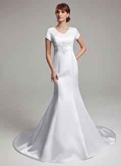 Forme Sirène/Trompette Col V Traîne mi-longue Satiné Robe de mariée avec Plissé Motifs appliqués Dentelle (002001670)