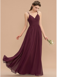A-Line V-neck Floor-Length Chiffon Lace Bridesmaid Dress With Ruffle Beading Sequins (007165848)