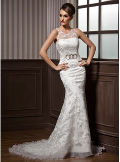 Trumpet/Mermaid Scoop Neck Court Train Satin Organza Lace Wedding Dress With Ruffle Beading Bow(s) (002011599)