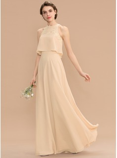 A-Line Scoop Neck Floor-Length Chiffon Lace Bridesmaid Dress (007176754)