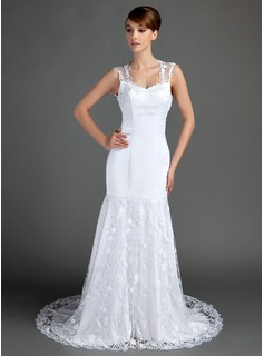 Trumpet/Mermaid Sweetheart Chapel Train Satin Lace Wedding Dress (002015699)