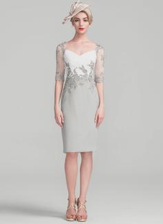 Sheath/Column Knee-Length Chiffon Lace Cocktail Dress With Ruffle (016174151)
