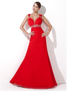 Formal Dresses Online A-Line/Princess Sweetheart Floor-Length Chiffon Evening Dress With Ruffle Beading Sequins (017004434)