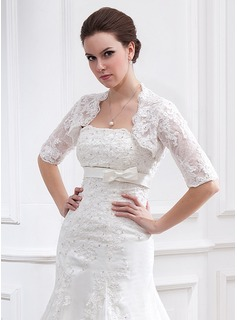 Half-Sleeve Lace Wedding Wrap (013025119)