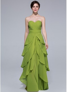A-Linie/Princess-Linie Herzausschnitt Bodenlang Chiffon Festliche Kleid mit Gestufte Rüschen (007037219)