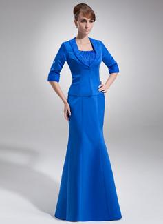 Empire-Linie U-Ausschnitt Bodenlang Satin Organza Kleid für die Brautmutter mit Rüschen Perlen verziert (008006285)