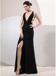 Cheap Evening Dresses Sheath V-neck Sweep Train Chiffon Evening Dress (017014068)